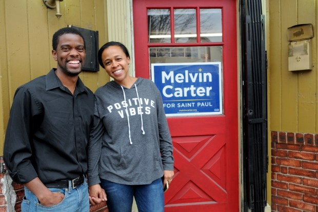 Melvin Carter, mayoral candidate for St. Paul, and his wife, Sakeena Futrell-Carter joined volunteers with his campaign at his headquarters at 1250 West 7th Street on Saturday, Oct. 21, 2017 for a meeting to discuss the city's vision, and kick off his Saturday door knock with campaign volunteers for his campaigns GOTV Weekend of Action. Afterwards he participated in calling St. Paul voters to introduce himself and encourage them to vote for him for St. Paul's next mayor. (Ginger Pinson / Pioneer Press)