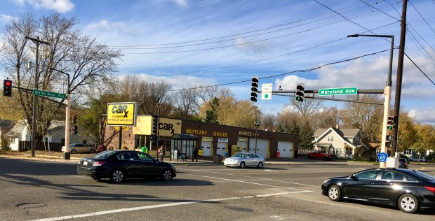 The intersection between White Bear Avenue and Maryland Avenue East had five injuries from 2011 to 2015 between motor vehicles and pedestrians or bicyclists. (S. M. Chavey / Pioneer Press)