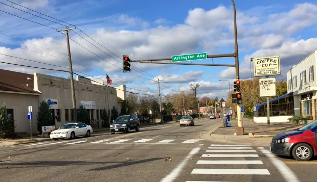 The intersection between Rice Street and Arlington Avenue West had five injuries from 2011 to 2015 between motor vehicles and pedestrians or bicyclists. (S. M. Chavey / Pioneer Press)