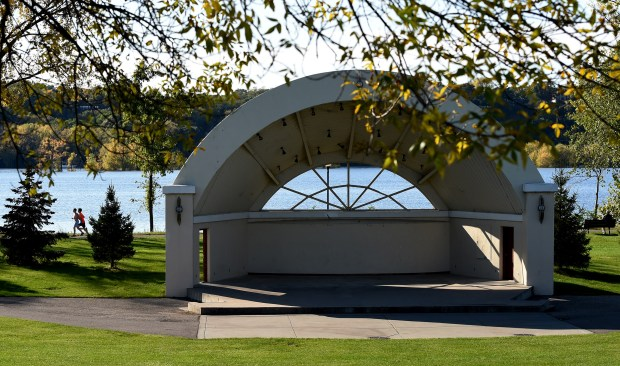 Some redesign options are being considered, including moving the amphitheater due to glare impeding evening performances, to better connect the park near the waterfront with downtown areas in Hudson, Wisconsin, Friday, Oct. 13, 2017. (Jean Pieri / Pioneer Press)