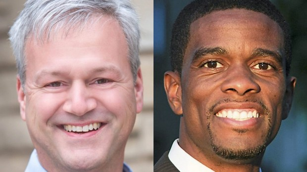Mayoral candidates Pat Harris, left, and Melvin Carter III