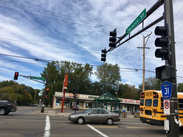 The intersection between Clarence Street and Maryland Avenue East had six injuries from 2011 to 2015 between motor vehicles and pedestrians or bicyclists. (S. M. Chavey / Pioneer Press)