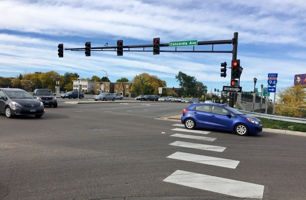 The intersection between Snelling and Concordia Avenues had six injuries from 2011 to 2015 between motor vehicles and pedestrians or bicyclists. (S. M. Chavey / Pioneer Press)