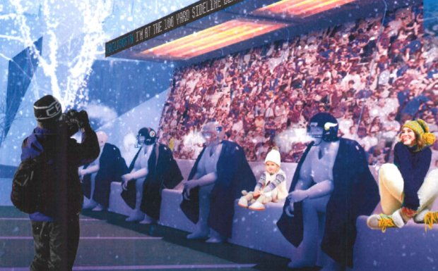 """A rendering shows a """"warming bench"""" -- which is heated -- for fans' photo opps that will be part of Super Bowl LIVE, a 10-day fan festival leading up to Super Bowl LII, taking place on Minneapolis' Nicollet Mall. (Courtesy of Super Bowl LIVE)"""
