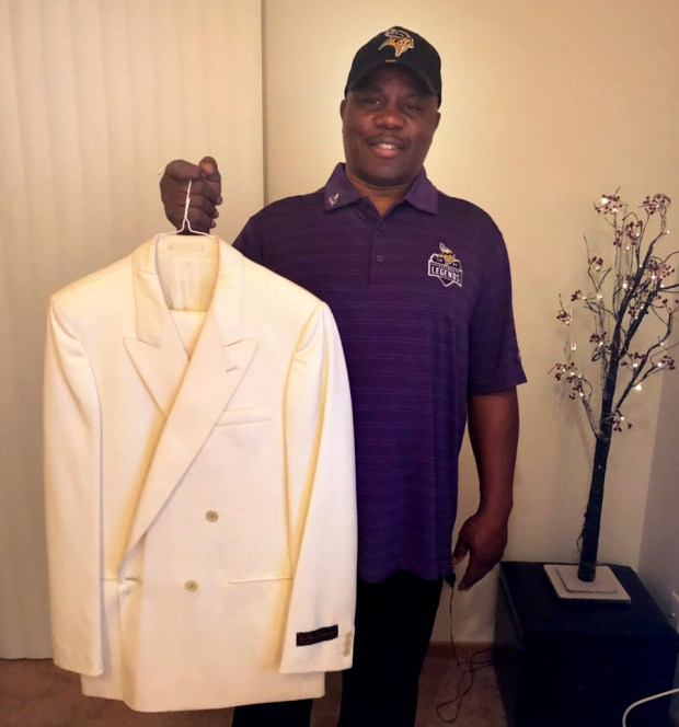 Former Minnesota Vikings defensive back Rufus Bess purchased this cream-colored suit when he traveled to London with the team for the 1983 Vikings-St. Louis Cardinals preseason game, the first-ever NFL game played in London. Bess returned a punt for a touchdown in the game. While in London, he bought this cream-colored suit off a mannequin. He has never worn it. It sits in the closet of his Eden Prairie home to this day. (Courtesy of Rufus Bess)