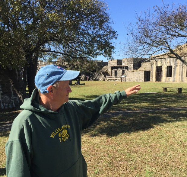 Historian Michael Cobb explains the significance of historic Fort Wool. (Courtesy of William Gurstelle)