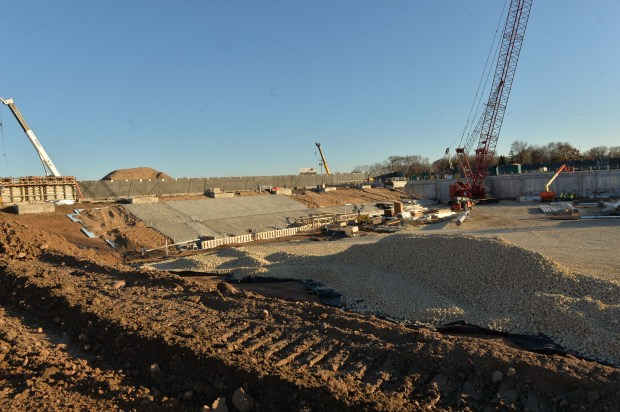 Minnesota United's Allianz Field stadium site under construction in St. Paul, Nov. 21, 2017. (Scott Takushi / Pioneer Press)