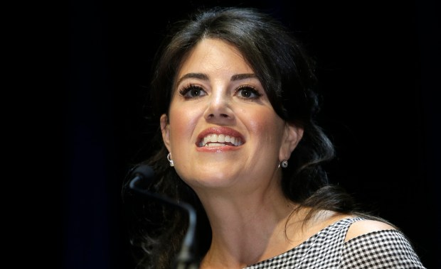 """In this June 25, 2015, photo, Monica Lewinsky attends the Cannes Lions 2015, International Advertising Festival in Cannes, southern France. Lewinsky tweeted a screenshot of a headline about an HLN special, """"The Monica Lewinsky Scandal."""" Lewinsky tweeted a screenshot of a headline about an HLN special, """"The Monica Lewinsky Scandal."""" She crossed out the title and suggested replacing it with """"The Starr Investigation"""" or """"The Clinton Impeachment."""" She quipped in the Tuesday, Nov. 28, 2017, tweet: """"fixed it for you. you're welcome."""" (AP Photo/Lionel Cironneau)"""