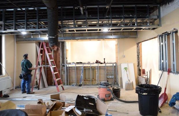 Construction in the bar area of Holman's Table, a new restaurant opening before the Super Bowl at Holman Field in St. Paul, Nov. 16 2017. (Scott Takushi / Pioneer Press)