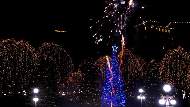 The 10th annual tree lightning ceremony in Rice Park took place in front of Landmark Center with fireworks and included the opening of the WinterSkate Wells Fargo Rink on Saturday, November 18, 2017. Festivities included hot cocoa, a reinder and sleigh for photo ops, skating performances and more. (Ginger Pinson / Pioneer Press)