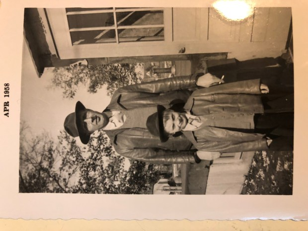 Caption: Jim Kosmo poses with his father, the late Palmer James Kosmo, ,in a picture taken on Easter Sunday in 1946. Kosmo recently penned a mystery mystery based on the 27 years his father spent in mental institutions and his sexual assault at the hands of an assistant Boy Scout leader. Photo courtesy: Jim Kosmo