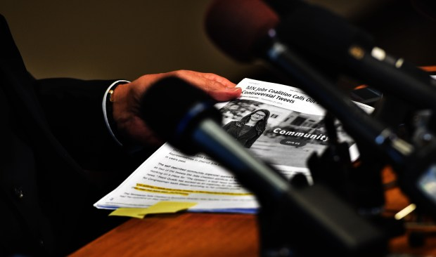 Paul Rogosheske, the lawyer of State Sen. Dan Schoen, DFL-Cottage Grove, announces Schoen's resignation at a press conference in his law office in South St. Paul Wednesday, Nov. 22, 2017. Rogosheske passed out information packets and talked about the sexual harassment allegations. (Jean Pieri / Pioneer Press)