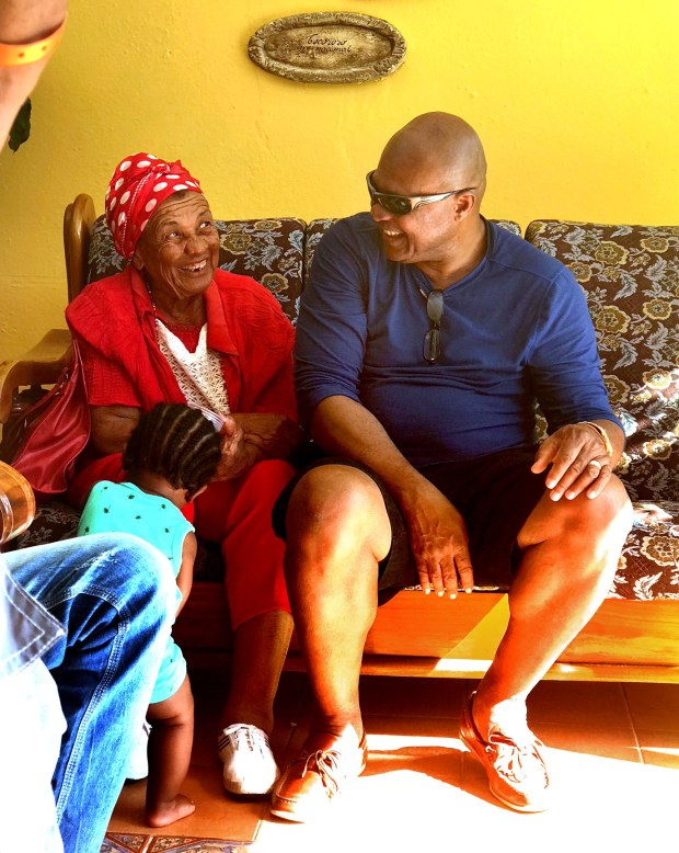 USE THIS ONE, PLEASE -- Jean Albert Lamur, right, visits with his mother, Sonia Martinez, during a visit to Cuba in Feb. 2017. When Lamur, father of Minnesota Vikings linebacker Emmanuel Lamur, was a toddler, Martinez visited Cuba and never made it back due to the Castro revolution. Jean Albert Lamur actually saw his mother for the first time since childhood in 2001 and then again in 2017. (Courtesy of Emmanuel Lamur)
