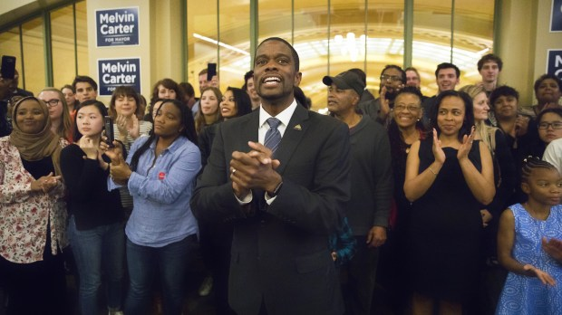 Melvin Carter, the newly elected St. Paul mayor, celebrates his victory with his supporters at Union Depot on Tuesday night, Nov. 7, 2017. (Special to the Pioneer Press / Chris Juhn)