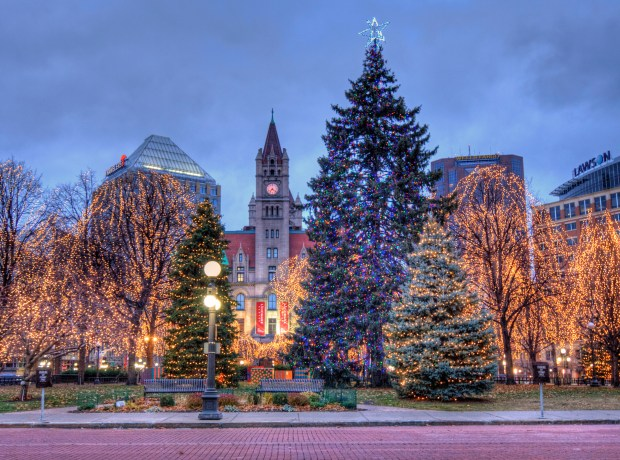 St. Paul will hit the on switch for Rice Park's holiday lights on Saturday. (Photo courtesy Visit St. Paul)