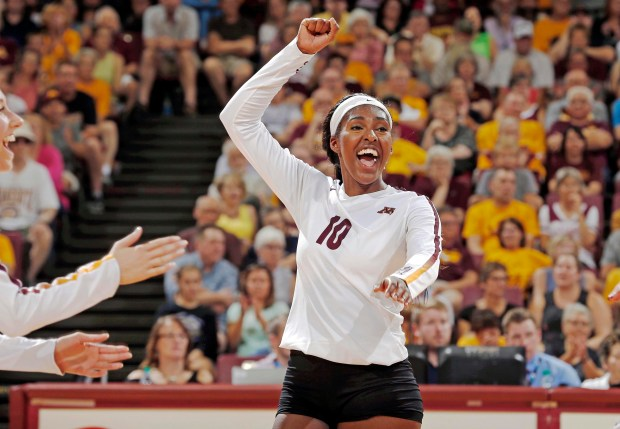 Minnesota's Stephanie Samedy celebrates during a volleyball match against Michigan at Maturi Pavilion in Minneapolis on Sept. 22, 2017. (Eric Miller / University of Minnesota Athletics)