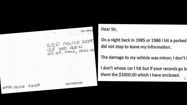 South St. Paul police Chief Bill Messerich received an anonymous letter postmarked Nov. 3, 2017, apologizing for a 30-year-old hit-and-run and offering $1,000 to compensate the victim. (Pioneer Press photo illustration)