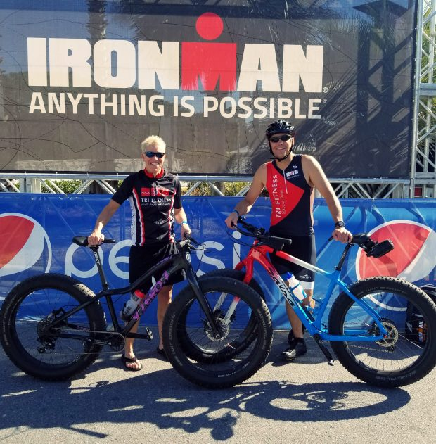 Minnesota triathlete buddies Vicki Ostendorf and Dave Cossack challenged themselves to ride fat bikes (for 112 miles) in the Ironman Florida, a triathlon held in November in Panama City Beach, Fla. (Courtesy photo)