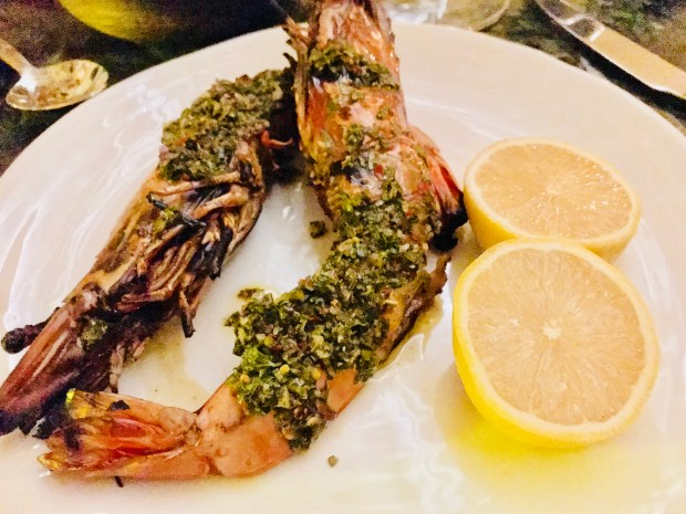 Grilled Giant Tiger Prawns at Martina. Photographed Nov. 7, 2017. (Nancy Ngo / Pioneer Press)