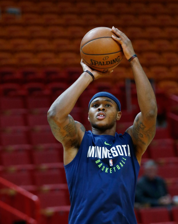 Minnesota Timberwolves guard Marcus Georges-Hunt warms up before the start of an NBA basketball game against the Miami Heat, Monday, Oct. 30, 2017, in Miami. (AP Photo/Wilfredo Lee)