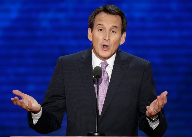 FILE - In this Aug. 29, 2012 file photo, former Minnesota Gov. Tim Pawlenty addresses the Republican National Convention in Tampa, Fla. Pawlenty is eyeing a climb back onto the national stage. An unexpected Minnesota Senate election next year, created by Democrat Al Franken's resignation after sexual harassment allegations, has created the opening. Some GOP power players are looking expectantly at Pawlenty as their best chance to take a Senate seat in a Democratic-leaning state with an unorthodox streak. (AP Photo/J. Scott Applewhite, File)