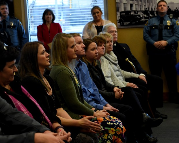 Cassie Hansen's family sits in the front row of an award presentation. St. Paul Police present awards to Dorothy Noga, and homicide detectives Patrick Scott, Richard Klein and James Groh for the Cassie Hansen case at the St. Paul Police Western District in St. Paul Wednesday, Dec. 13, 2017. Hansen was six-years-old when a stranger abducted her from a church during Family Night in Nov. 1981. Her body was found in a dumpster the next morning and she had been sexually assaulted. Noga told authorities at the time that Stuart Knowlton admitted killing Cassie. Knowlton stabbed her 36 times and left her for dead. The homicide detectives who were never recognized, were also honored. (Jean Pieri / Pioneer Press)