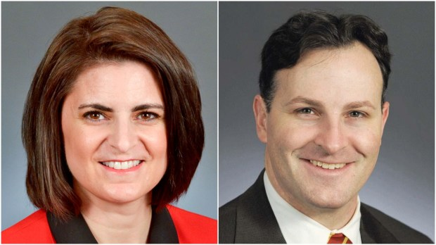 Minnesota state Rep. Marion O'Neill, R-Maple Grove, right, and Rep. John Lesch, DFL-St. Paul. (Courtesy Minnesota House)