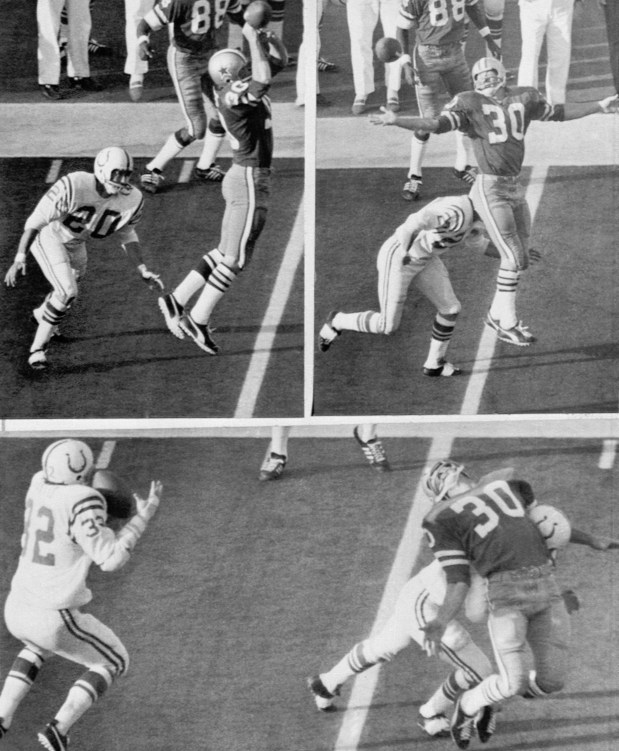 Dallas running back Dan Reeves (30) gets a hand on a Craig Morton pass in the fourth period of the Super Bowl game (top left) but can't keep it as he is hit by Baltimore's Jerry Logan (20) (top right) and Mike Curtis (32) intercepts (bottom) as Reeves is bent backwards by Logan, Jan. 17, 1971, Orange Bowl, Miami Beach, Fla. Three plays later Dallas kicker Jim O'Brien kicked the game winning field goal. (AP Photo)