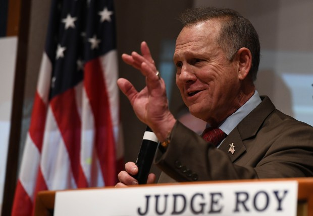 Republican candidate for U.S. Senate Roy Moore addresses supporters after a historic loss to Democrat Doug Jones on Dec. 12, 2017, in Montgomery, Ala. (Miguel Juarez Lugo/Zuma Press/TNS)