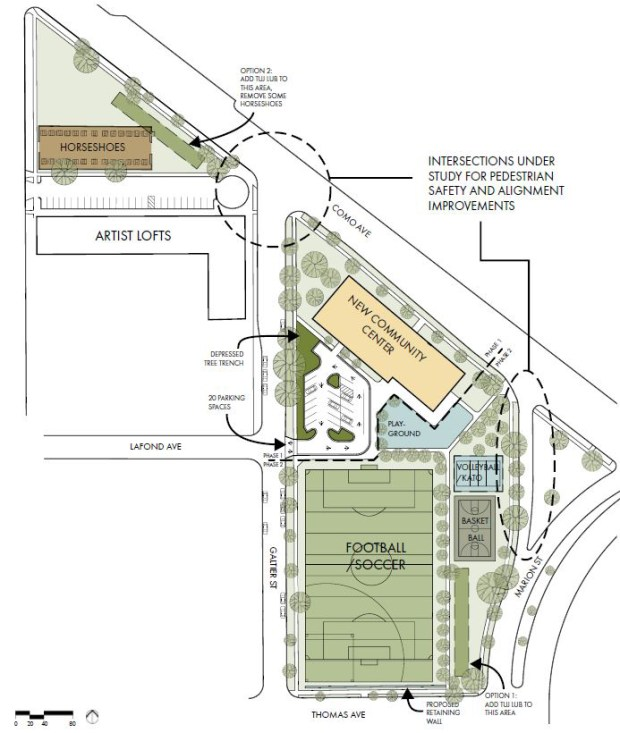 A site plan for the new Scheffer Community Center, to be built in St. Paul's Frogtown neighborhood in 2018. The new rec center will replace an existing 1970's building, built on the site of the St. Paul's first playground, and will include a 23,500 square foot community center, a football and soccer field, basketball court and a Kato field. (Courtesy of JLG Architects via the St. Paul Parks and Recreation Department)