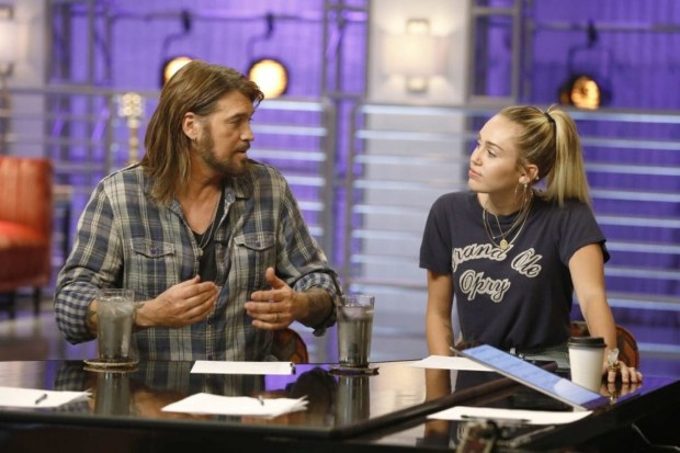 "Billy Ray Cyrus, a special guest adviser this season on ""The Voice,"" with his daughter, coach Miley Cyrus. (Trae Patton, NBC)"