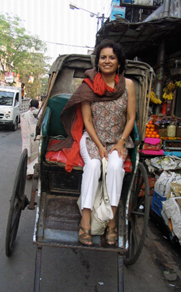 Sujata Massey returns to India every year to research her new series of mysteries sent in Bombay in the 1920s -- and ride in rickshaws. (Courtesy photo)