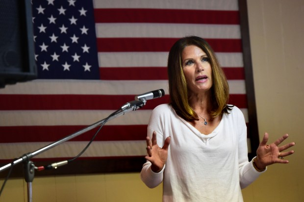 Former Minnesota Congresswoman Michele Bachmann gives the keynote address at a Republican gubernatorial forum in Waconia, Minn., on July 19, 2017. (Scott Takushi / Pioneer Press)