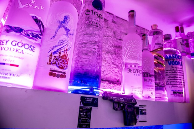 Empty space on the shelf marks the spot after the world's most expensive bottle of vodka, valued at US dlrs 1.3 million (1.08 million euro), was stolen from the Cafe 33 bar in copenhagen, Denmark, Wednesday Jan. 3, 2018. Copenhagen police are investigating the theft of the Russo-Baltique vodka bottle, made of 3 kilograms (6.6. pounds) of gold and the equivalent amount of silver with a diamond-encrusted cap. (Mads Claus Rasmussen/Ritzau Scanpix via AP)