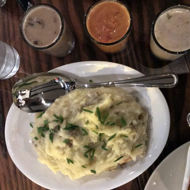 Vegan mashed potatoes are served with a gravy flight at Fig + Farro in Calhoun Square. Photographed Jan. 17, 2018. (Pioneer Press / Nancy Ngo)