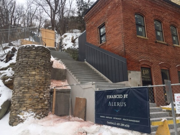 The Main Street stairs in downtown Stillwater, closed since September because of long-term water damage, should reopen by the end of January 2018. Repairs include installing a new railing, replacing half the stairs and redirecting water to a storm sewer. (Mary Divine / Pioneer Press)