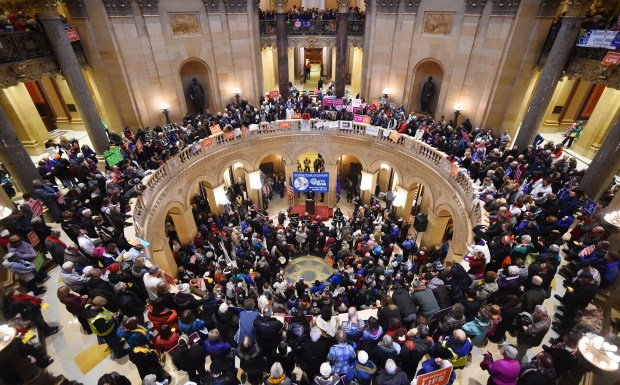 People crowd the rotunda of the State Capitol in St. Paul during a Minnesota Citizens Concerned for Life rally on Monday, Jan. 22, 2018, the 45th anniversary of the Jan. 22, 1973 Roe V. Wade decision from the U.S. Supreme Court regarding abortion. (John Autey / Pioneer Press)