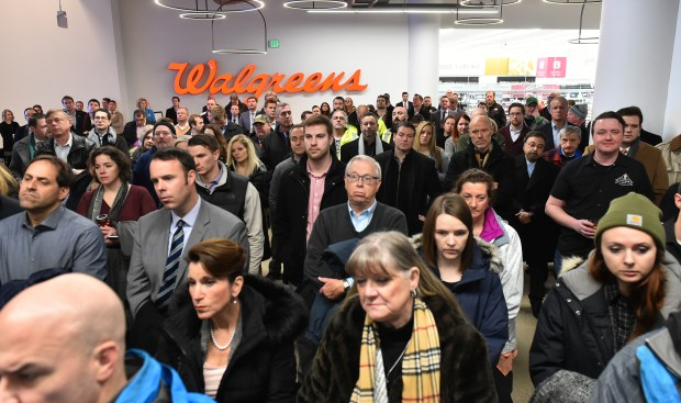The crowd at the Treasure Island Center ribbon cutting in St. Paul on Tuesday, Jan. 16, 2018. (John Autey / Pioneer Press)