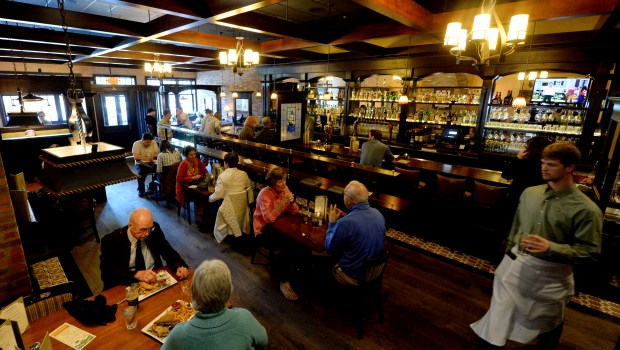 The dinning room and bar at Emmetts Public House on Grand Avenue in St. Paul on Friday, May 8, 2015. (Pioneer Press: John Autey)
