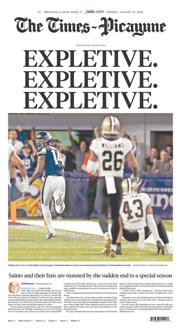 Times-Picayune Saints front page