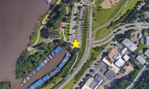 A yellow star on this Google Maps satellite image marks where the 2018 Pioneer Press Treasure Hunt Medallion was found in Harriet Island Regional Park in St. Paul.