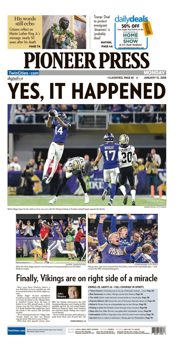 Pioneer Press Vikings front page