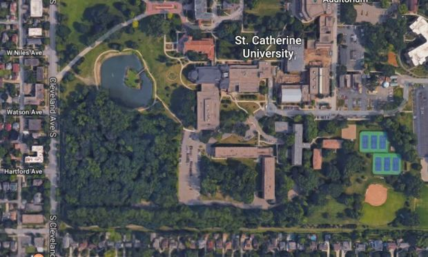 A satellite image from Google Maps shows the campus of St. Catherine University in St. Paul. The school has plans to pave a parking lot in a wooded area the in southwest of campus. (Google Maps)