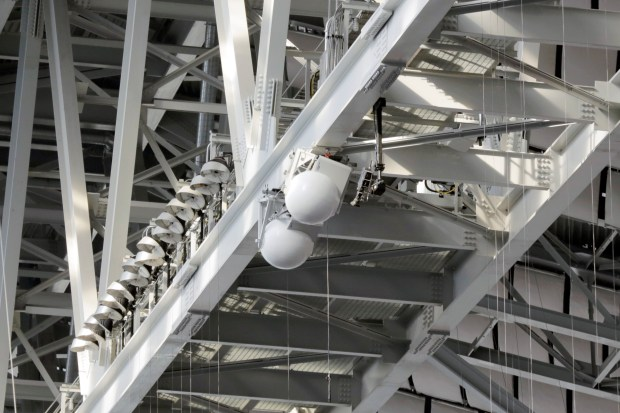 As part of its wireless-upgrades at U.S. Bank Stadium ahead of the Super Bowl, Verizon Wireless has installed MatSing (short for multi-beam base station antenna) balls aloft. The balls, each containing dozens of cellular antennas, are intended to improve cellular coverage at ground level. (Verizon Wireless)