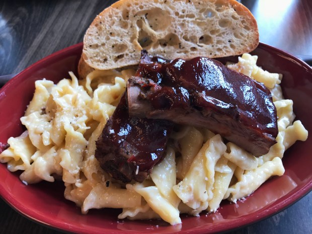 Rib mac & cheese at Brick & Bourbon in Stillwater. Photographed Feb. 20, 2018. (Nancy Ngo / Pioneer Press)