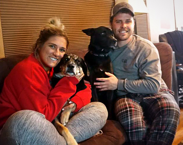 MAX WIDTH FOR PRINT: 4.3 INCHES -- Hillary Volkman and Joe Nelson of Maplewood had their dogs, Willow and Koda, returned Monday night, Feb. 12, 2018, after the dogs had been stolen in a vehicle theft at a Maplewood gas station the evening before. (Courtesy of Joe Nelson)