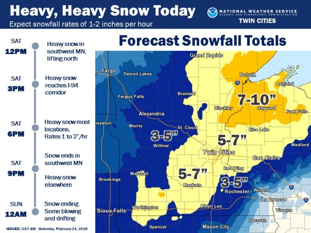 National Weather Service snow map