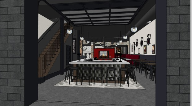 A rendering of Firehouse Wine Bar on Leech Street and Grand Avenue in St. Paul. (Courtesy Firehouse Wine Bar)
