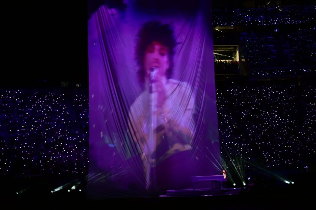 A projected image of Prince is projected during the halftime show of Super Bowl LII at U. S. Bank Stadium. (John Autey / Pioneer Press)