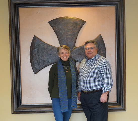 Jeanne Nyman and Hill-Murray President Jim Hansen upon establishing a $3 million scholarship fund in memory of Nyman's late husband, Mark, in 2018. Mark Nyman was a 1969 graduate of Hill High School. (Courtesy of Amy Gutknecht)